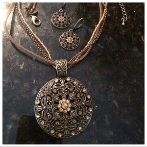Lia Sophia necklace & earrings boho filigreed set